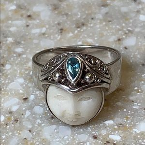 Carved Moon and Blue Topaz Sterling Silver Ring